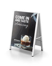 22 x 28 Inch INDOOR All Aluminum A-Frame Sign Holder Stand. Made in USA