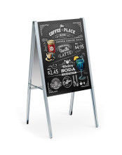 24 x 36 Inch INDOOR-OUTDOOR All Aluminum A-Frame Sign Holder Stand with Wet-Erase Sign Panels. Made in USA