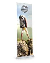 """33"""" Wide Single-Sided All Aluminum Mercury Pro Retractable Banner Stand with Adjustable Height, Silver. Made in the USA"""