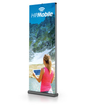 """60"""" Wide Double-Sided All Aluminum Mercury Pro Retractable Banner Stand with Adjustable Height, Black. Made in the USA"""