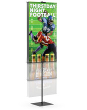 Value All Aluminum Center Pole Banner Stand with Pole Pocket. Made in the USA
