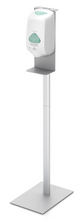Floor Standing Oval Pole Hand Sanitizer Dispenser Pump Stand. Made in USA.