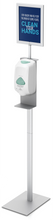 "Floor Standing Oval Pole Hand Sanitizer Dispenser Pump Stand with 8.5 x 11"" Sign Holder. Made in USA."