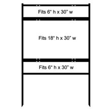 18 x 30 Inch Insert Bull Steel H-Frame Real Estate Yard Sign Stand with Top and Bottom Rider, 3-Pack. Made in the USA