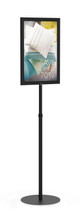 """8.5"""" x 11"""" HORIZONTAL Insert Performance Series Pedestal Sign Holder with ADJUSTABLE HEIGHT POLE, Black. Made in the USA"""