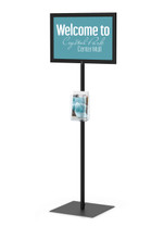 """8.5"""" x 11"""" HORIZONTAL Insert Performance Series Pedestal Sign Holder with FIXED HEIGHT POLE, Black. Made in the USA"""
