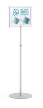 """11"""" x 14"""" HORIZONTAL Insert Performance Series Pedestal Sign Holder with ADJUSTABLE HEIGHT POLE, Silver. Made in the USA"""