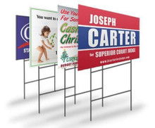 Custom Sizes - Most Popular Double-Side Printed Yard Sign Lawn Sign with Step-Stake, 10-Pack. Made in the USA