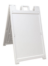 "24"" x 36"" Insert DELUXE Quick-Change Signicade Plastic A-Frame Sign Stand, White. Made in the USA"