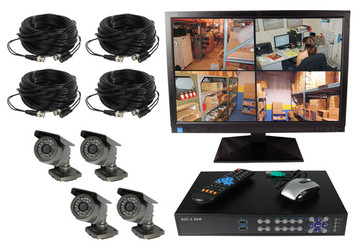 4 CHANNEL WIRED DIGITAL VIDEO RECORDING COMPLETE SYSTEM