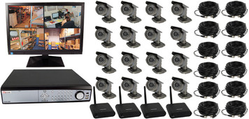 16 CHANNEL WIRELESS DIGITAL VIDEO RECORDING COMPLETE SYSTEM
