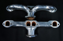 55 - 80 Corvette D-Port Ceramic Coated Ramhorn Manifold Replacement ! 1 5/8 to a 2' Collector