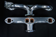 68- 72 Corvette Ceramic Coated Ramhorn Manifold Replacement W/ Alternator Bracket ! 1 5/8 to a 2' Collector