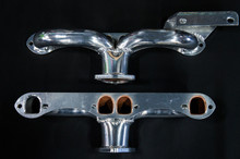 55 - 62 Corvette D-Port Ceramic Coated Ramhorn Manifold Replacement W/ Generator Bracket ! 1 3/4' Tubing to a 2 1/2' Collector