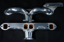 55 - 62 Corvette Ceramic Coated Ramhorn Manifold Replacement W/ Generator Bracket ! 1 3/4' Tubing to a 2 1/2' Collector