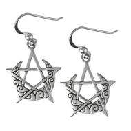 Sterling Silver Crescent Moon Pentacle Earrings