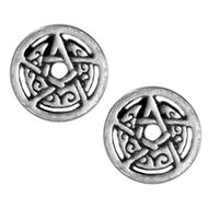 Silver Crescent Moon Pentacle Circle Stud Earrings