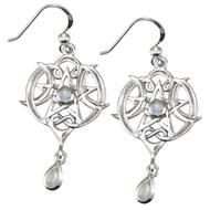 Sterling Silver Heart Pentacle Earrings with Rainbow Moonstone
