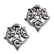 Sterling Silver Heart Pentacle Stud Earrings