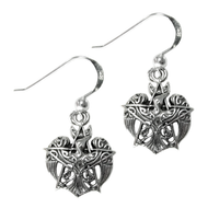 Sterling Silver Crescent Raven Pentacle Earrings