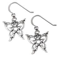 Sterling Silver Butterfly Pentacle Earring