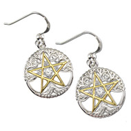 Sterling Silver Vermeil Cut Tree Pentacle Pentagram Earrings Wiccan Jewelry