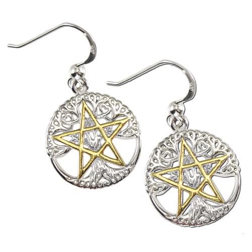 Sterling Silver Vermeil Cut Tree Pentacle Pentagram Earrings Wiccan Jewelry