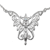Sterling Silver Faerie Pentacle Necklace with Rainbow Moonstone