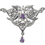 Sterling Silver Heart Pentacle Pentagram Necklace Amethyst Wiccan Jewelry