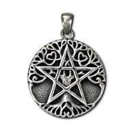 Sterling Silver Large Tree Pentacle Pentagram Pendant Wiccan Pagan Jewelry