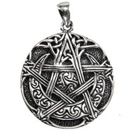 Sterling Silver Moon Pentacle Pentagram Pendant Wiccan Jewelry