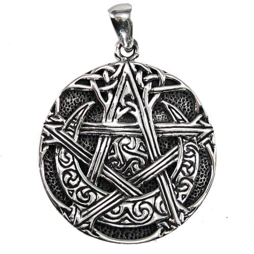 Sterling Silver Moon Pentacle Pentagram Pendant Wiccan Jewelry