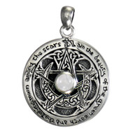 Sterling Silver Moon Pentacle Pentagram Pendant Moonstone Wiccan Pagan Jewelry