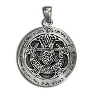 Sterling Silver Large Moon Pentacle Pentagram Pendant Wicca Jewelry