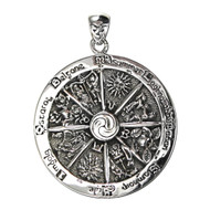 Sterling Silver Wheel of the Year Pendant Wicca Wiccan Sabbats Jewelry