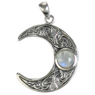 Sterling Silver Horned Moon Crescent Pendant Rainbow Moonstone Jewelry