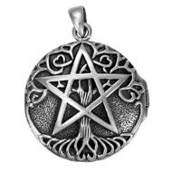 Sterling Silver Tree Pentacle Aromatherapy Locket Pendant
