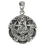 Small Sterling Silver Moon Pentacle Pentagram Pendant Jewelry