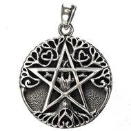 Sterling Silver Small Tree Pentacle Pentagram Pendant Jewelry