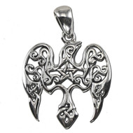 Sterling Silver Small Raven Pentacle Pentagram Pendant Jewelry