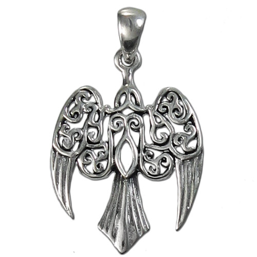 Sterling Silver Small Celtic Goddess Morrigan Raven Pendant Jewelry