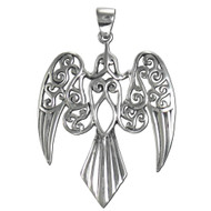 Sterling Silver Large Celtic Goddess Morrigan Raven Pendant Jewelry
