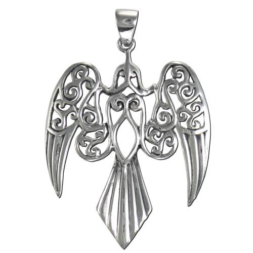 Sterling Silver Large Celtic Goddess Morrigan Raven Pendant Jewelry