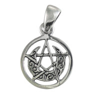 Sterling Silver Tiny Crescent Moon Pentacle Circle Pendant Wicca Jewelry
