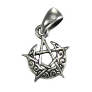Sterling Silver Tiny Crescent Moon Pentacle Pentagram Pendant Wicca Jewelry