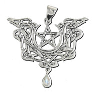 Sterling Silver Dragon Pentacle Pentagram Pendant Rainbow Moonstone