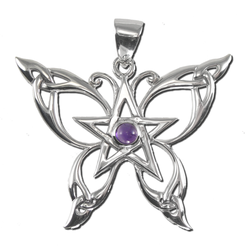 Sterling Silver Butterfly Pentacle Pendant with Amethyst