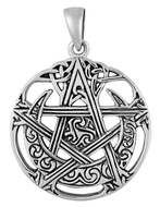 Sterling Silver Cut Out Moon Pentacle Pendant