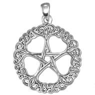 Sterling Silver Rose Pentacle Pendant