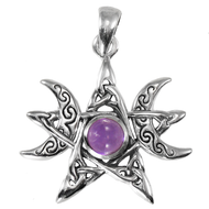 Sterling Silver Moon Phase Pendant with Amethyst